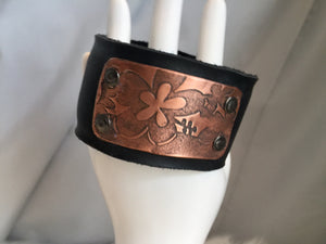 Leather and Copper Cuff Bracelet
