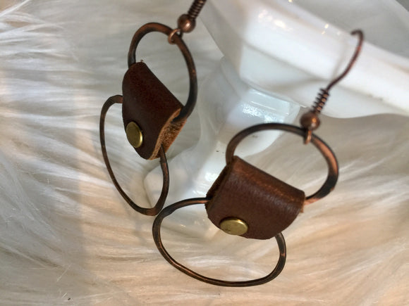 Copper Leather Hoops Earrings