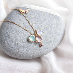 semi precious gemstone necklace with butterfly charm
