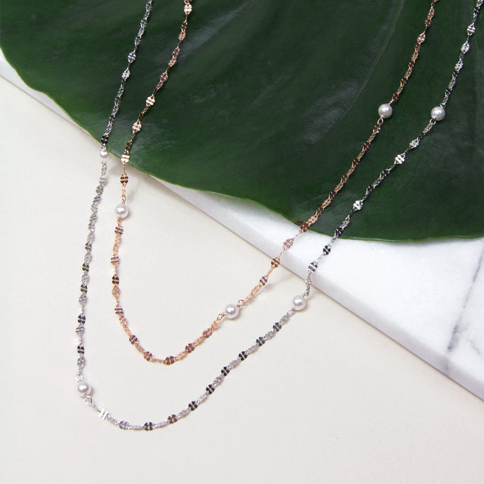 sterling silver long necklace with baby pearls