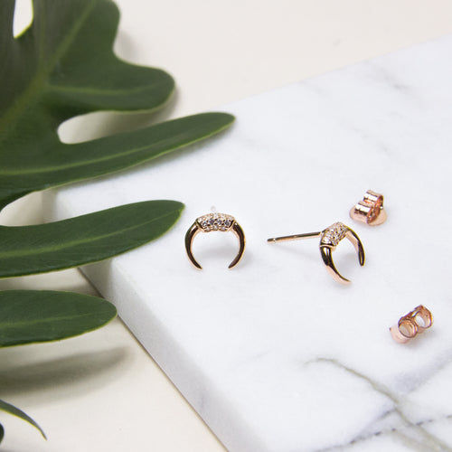 crystal crescent small stud earrings