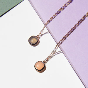 Cabochon Square Gemstone Pendant Necklace