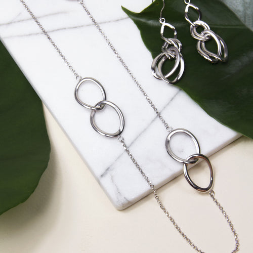 rhodium plated sterling silver long chain necklace