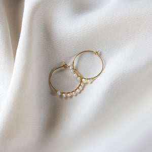 Freshwater Baby Pearl 10k Gold Hoops