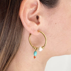 Velatti Hoops with Freshwater Pearl & Turquoise