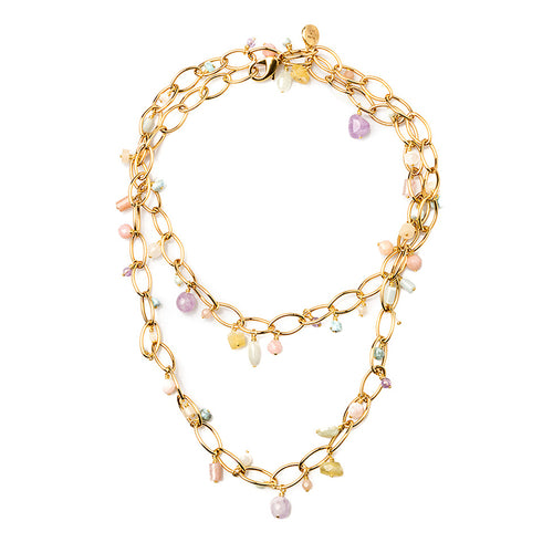 Velatti Multi Gemstone Oval Link Necklace