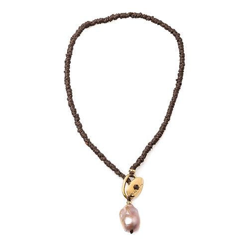 Velatti Baroque Pearl Short Rope Necklace