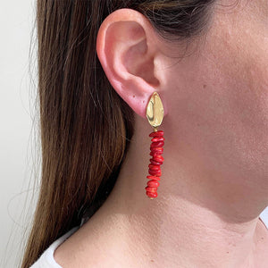 Velatti Leaf Earrings with Stacked Coral (Pre-Order)