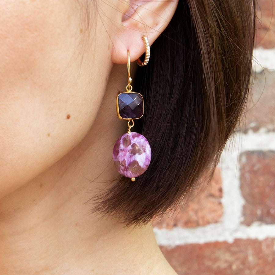 Amethyst and Fluorite Drop Earrings