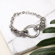 rhodium plated sterling silver chunky chain link bracelet