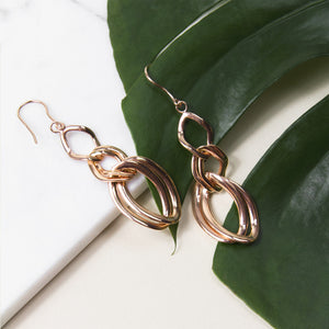 rose gold plated sterling silver with interlocking chain drop earrings