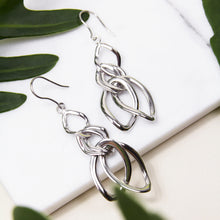 rhodium plated chain link hook earrings