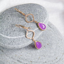 sterling silver hook earrings with lavender agate and iolite
