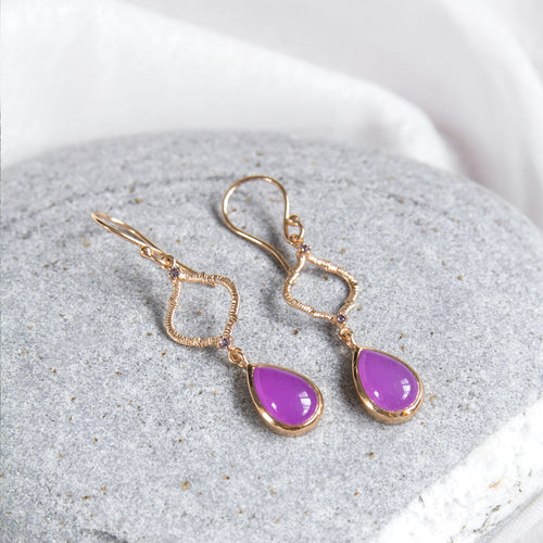 lavender agate cabochon drop earrings