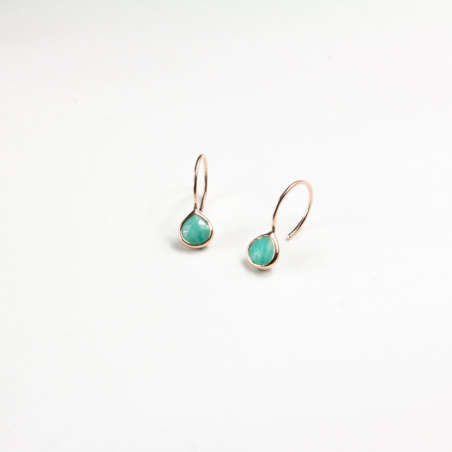 Amazonite Briolette Hook Earrings