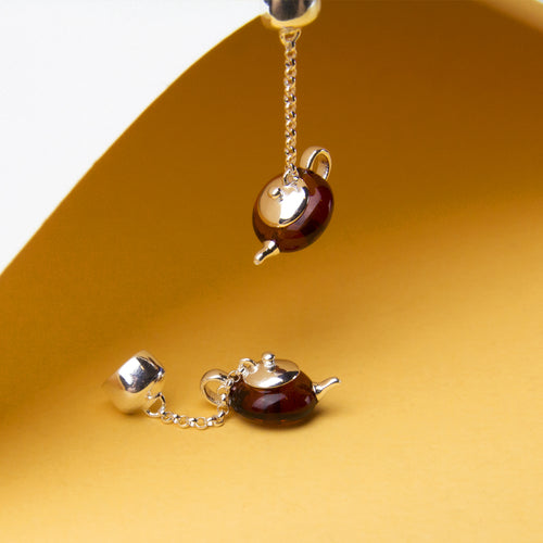 Amber Teapot Earrings
