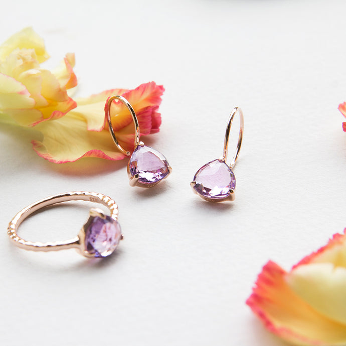 rose gold plated amethyst earrings