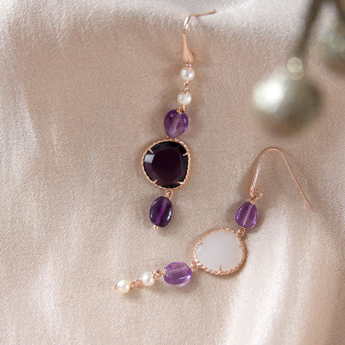 Amethyst and Cubic Zirconia Asymmetrical Drop Earrings