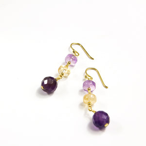 Amethyst and Ametrine Drop Earrings