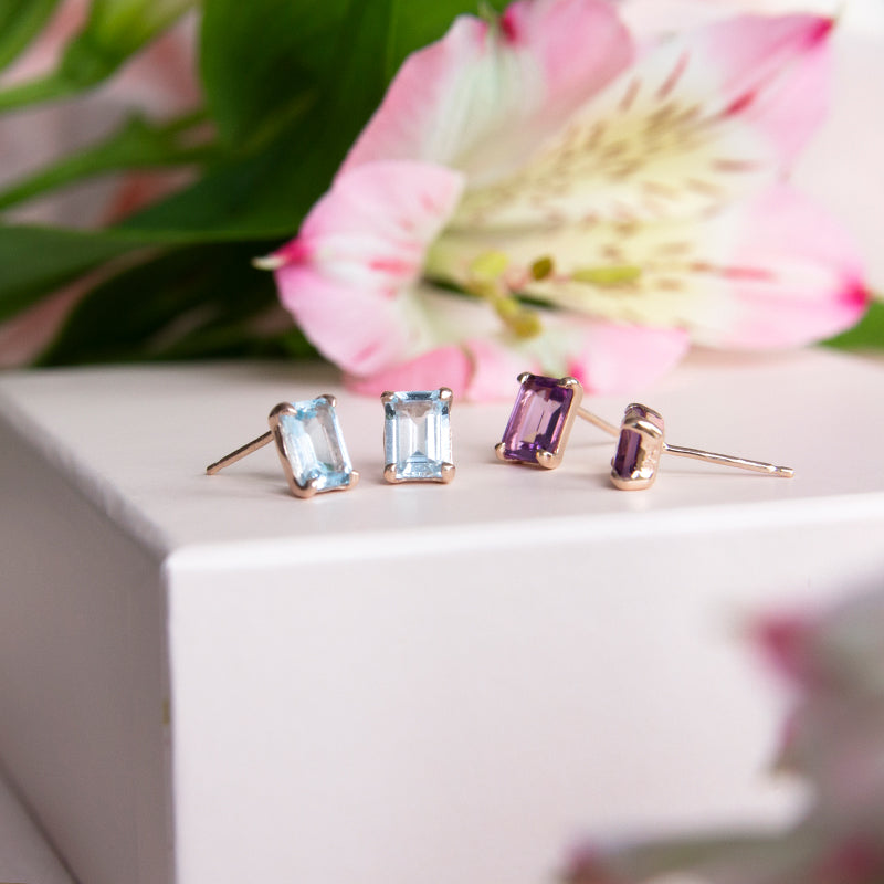 Esme Emerald Cut Blue Topaz Studs