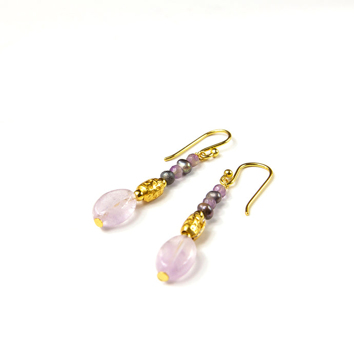 Amethyst and Pearl Drop Earrings