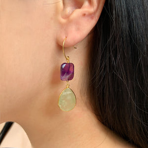 Amethyst & Flourite Hook Earrings