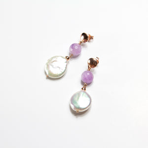 Amethyst and Pearl Coin Earrings