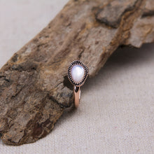 mother of pearl organic shaped ring