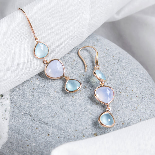 aqua and blue chalcedony trio drop earrings