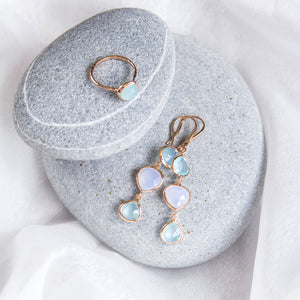 sterling silver hook earrings with rose cut chalcedony