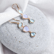 hook drop earrings with a mix of chalcedony gemstones