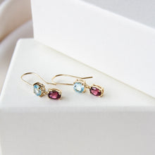 Blue Topaz & Garnet Aura 9k Gold Earrings