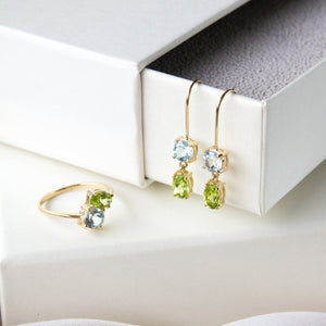 Blue Topaz & Peridot Aura 10k Gold Earrings