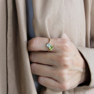 Blue Topaz & Peridot Aura 10k Gold Ring