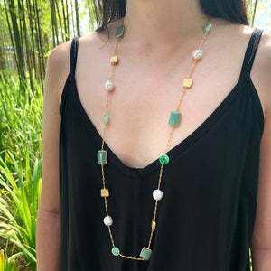 Aventurine, Jade Donut & Baroque Pearl Long Necklace