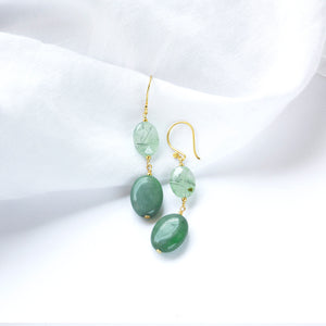 Prehnite and Aventurine Earrings