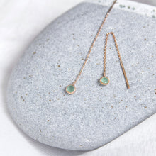 chain threader earrings with rose cut aventurine