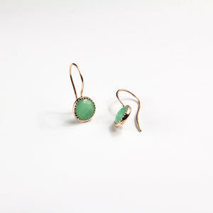 Green Aventurine Rose Cut Briolette Earrings
