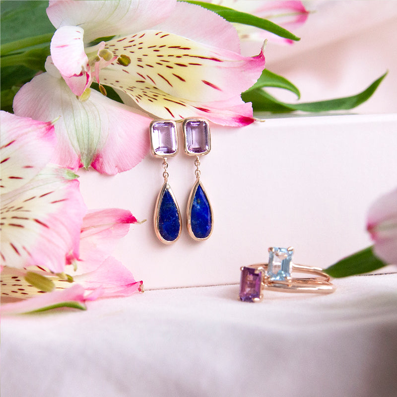 Aviana Amethyst and Lapis Drop Earrings