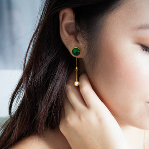 Jade and Akoya Pearl 18K Gold Earrings