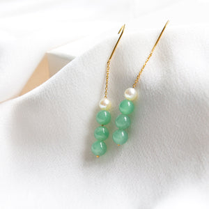 Triple Jade with Freshwater Pearl Drop Hook Earring