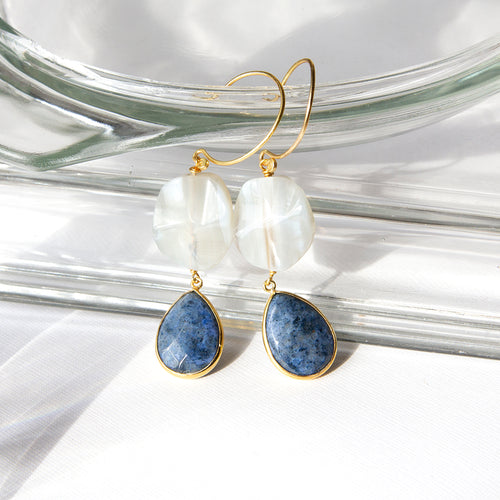 Banded Agate with Dumortierite Earrings