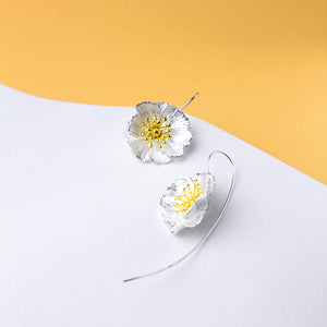 Big Flower Long Back Earrings