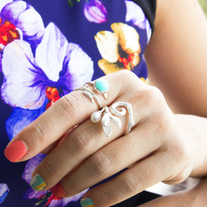 Freshwater Pearl Flower Open Ring