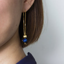 lapis bird thread through chain earrings