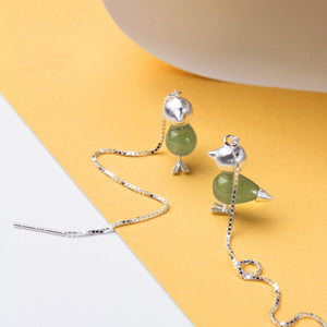 Aventurine bird threader earrings