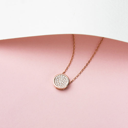 crystal circle pendant necklace