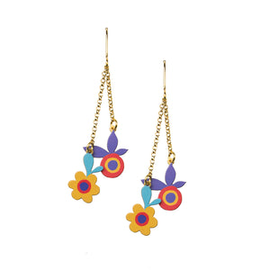 irregular long flower earrings dainty gold