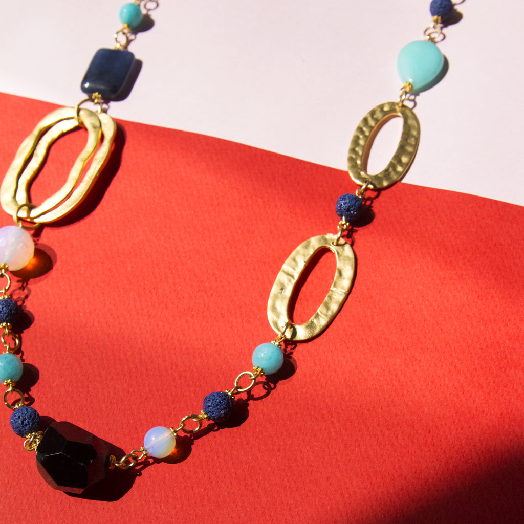 Semi-Precious Stone Long Necklace