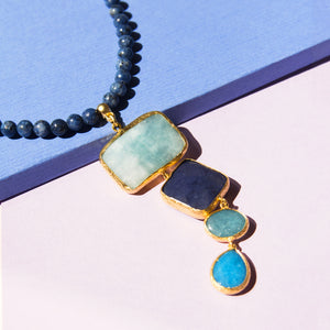 Quadruple Stone Short Necklace